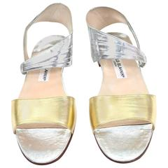 New Vintage Manolo Blahnik London Shoes Gold Silver Metallic Sandals 38.5