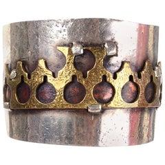 Signed Lilla Modern Brutalist Handmade Israel Mixed Metal Vintage Bracelet Cuff
