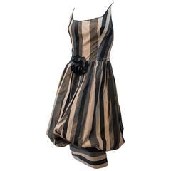 80s Silk Stripe Balloon Dress