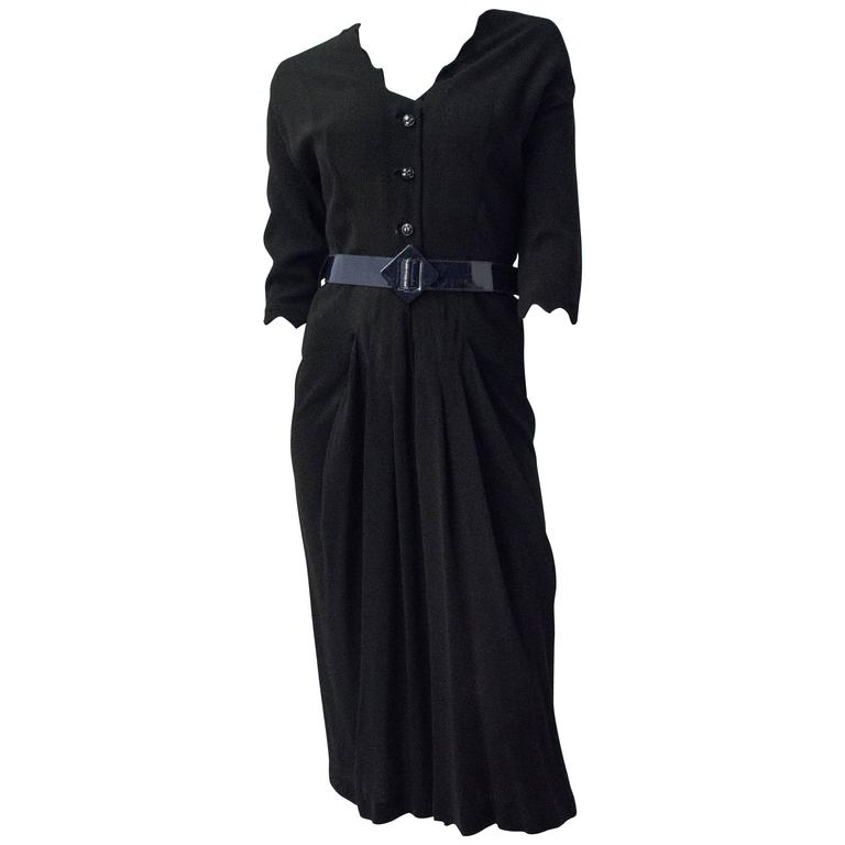 40s Black and Blue Dress For Sale