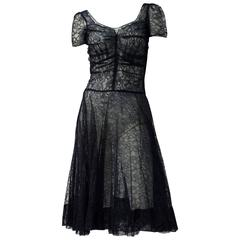 50s Navy Blue Lace Dress