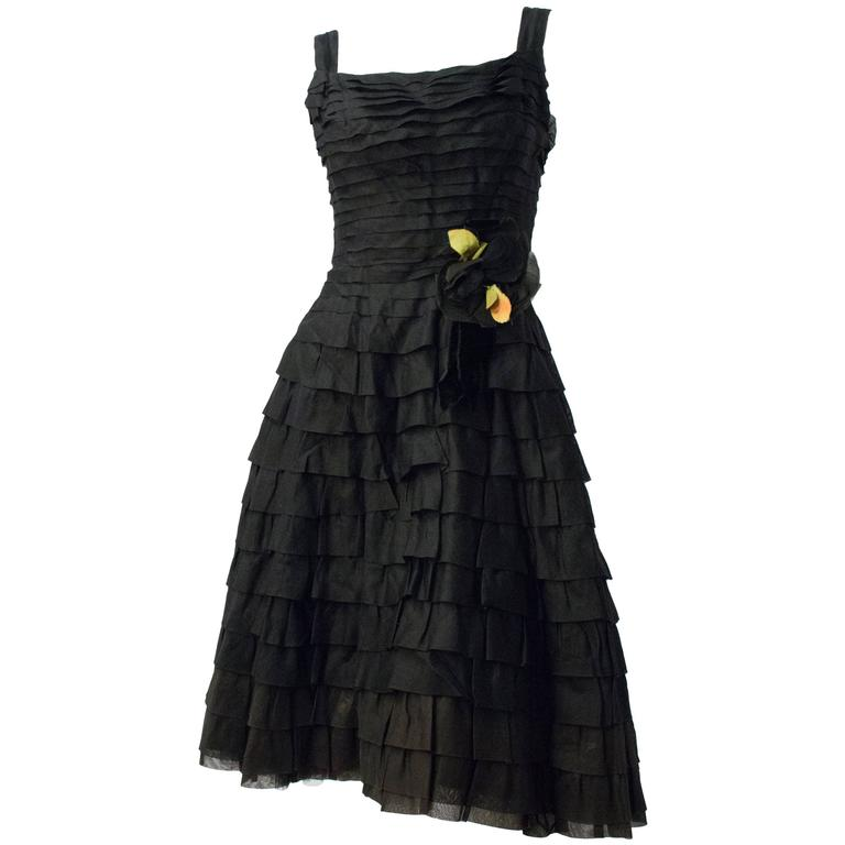 50s Emma Domb Black Chiffon Tiered Dress