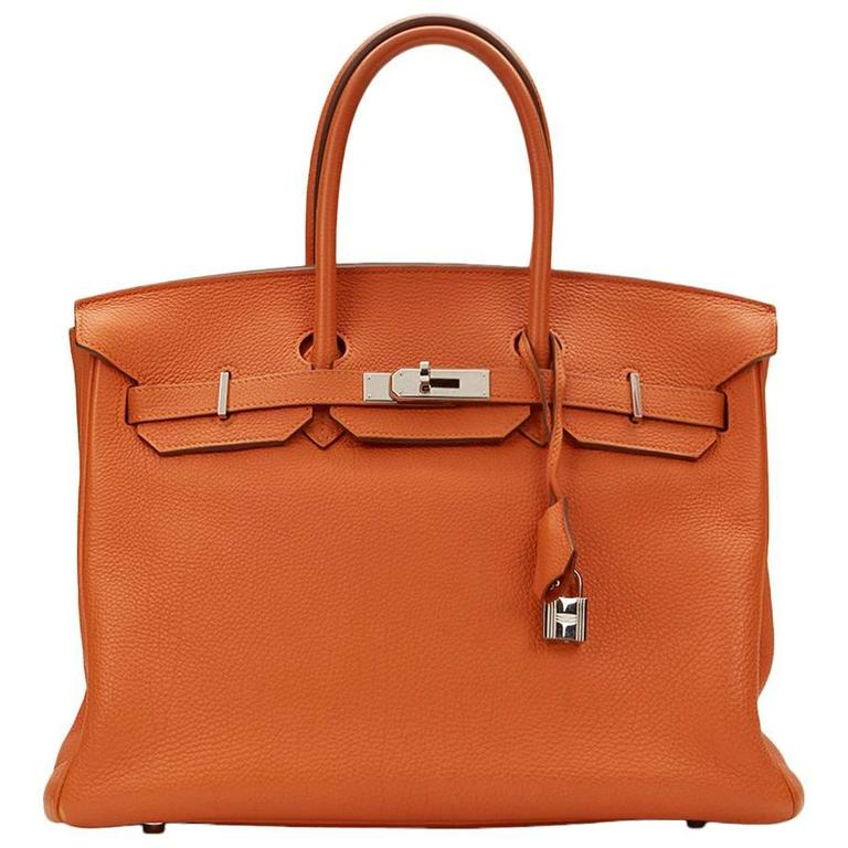 2010 Hermes Orange Togo Leather Birkin 35cm For Sale