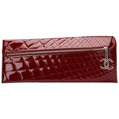 2000s Chanel Burgundy Quilted Patent Leather Geometric Clutch