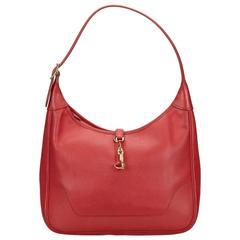 Hermes Red Clemence Trim Shoulder Bag