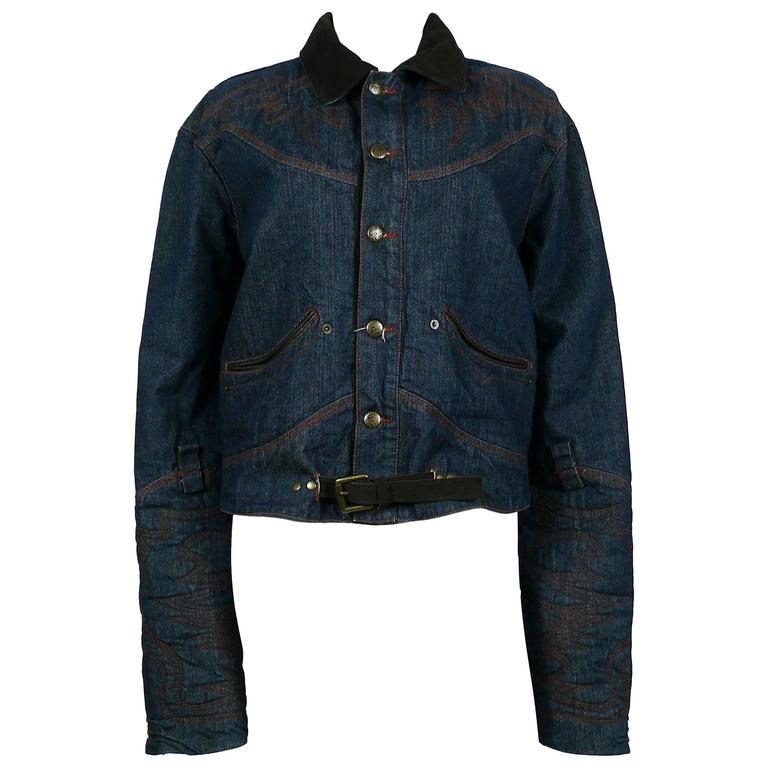 Jean Paul Gaultier Men's Western-style Cowboy Denim Jacket USA Size 32 For Sale