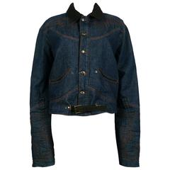 Jean Paul Gaultier Men's Western-style Cowboy Denim Jacket USA Size 32