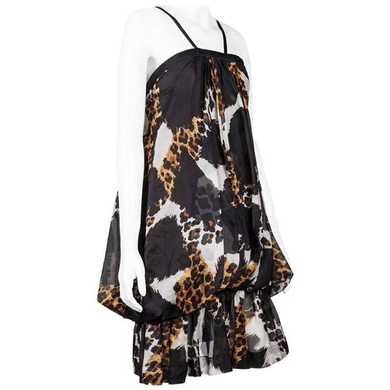 YVES SAINT LAURENT Balloon Wild Printed Silk Dress 36FR