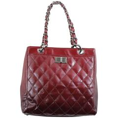 Chanel 2.55 patented Leather Burgundy-Red Shopper Bag