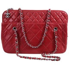 Chanel Red Large Quilted Letaher Bag