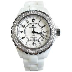 J12 Chanel White Ceramic and Diamonds Watch