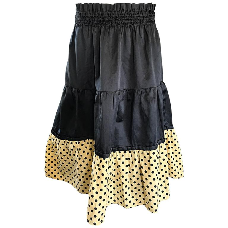 1970s Pierre Cardin Black Ivory Polka Dot Tiered Ruffle Vintage 70s Midi Skirt