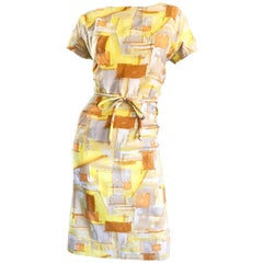 Chic 1960s Yellow + Orange + White Short Sleeve Belted Vintage 60s Mod Day Dress