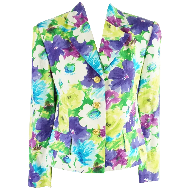 Celine Multicolored Floral Printed Linen Jacket - 38