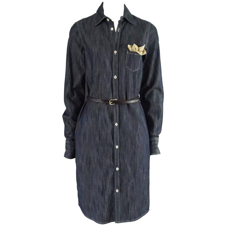DSquared2 Blue Denim Dress with Belt and Attached Pocket Square - 44