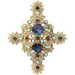 Kenneth Jay Lane Blue & Gold Crystal Brooch Pin