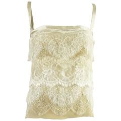 Dolce & Gabbana Tan and Ivory Lace Silk Blend Camisole and Bra - 44