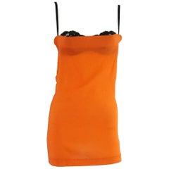 Dolce & Gabanna Orange Silk Top w/ Black Lace Bra - 38 - NWT