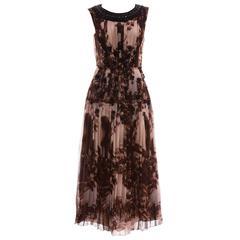 Prada Printed & Pleated Silk Chiffon Sleeveless Dress, Autumn-Winter 2004
