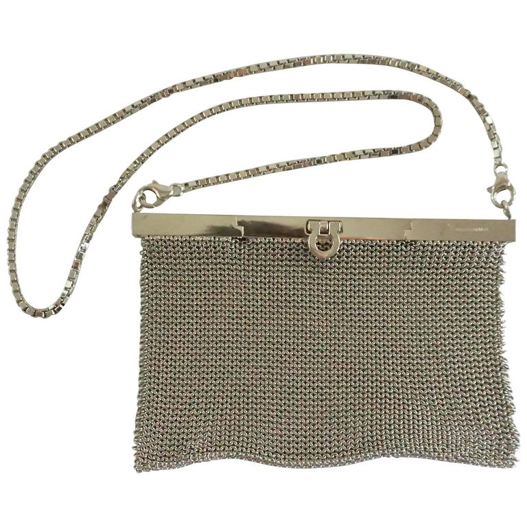 Salvatore Ferragamo Silver Mesh Bag and Clutch  1