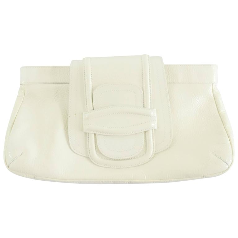 Oscar de la Renta Ivory Patent Leather Large Clutch