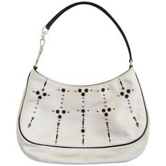 Prada Ivory Satin Baguette with Grommet and Sequins