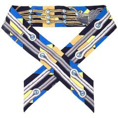 Hermes Navy Tassel Print Silk Twilly Scarf