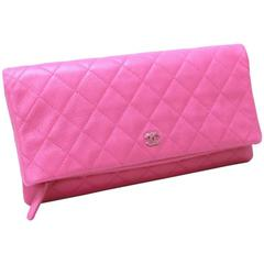 Chanel Pink Caviar Flap Medium Evening Clutch Purse