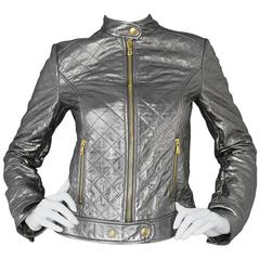 Dolce & Gabbana Quilted Metallic Leather Jacket sz IT40