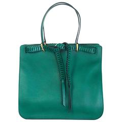 Roberto Cavalli Green Leather Tote Bag w. Tie