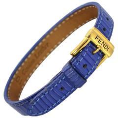 Fendi Blue Textured Leather Wrap Bracelet