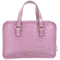 Prada St. Cocco Lucido Bauletto Handle Bag Crocodile Embossed Leather