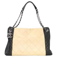Chanel Beige & Black Quilted Leather Tote Bag