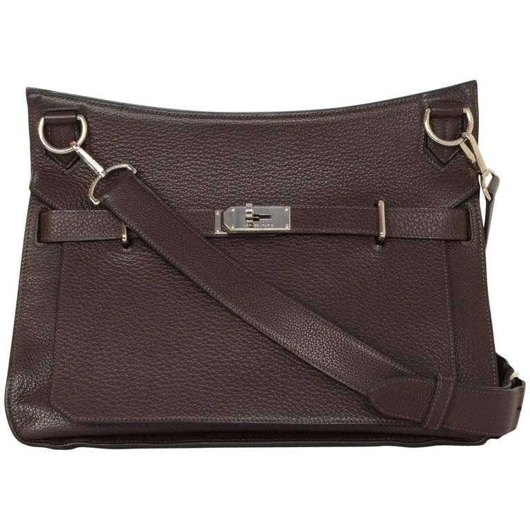 Hermes Brown Clemence 34cm Jypsiere Crossbody Messenger Bag For