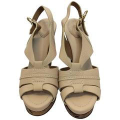 Chloe New Nude Leather Cork Heels