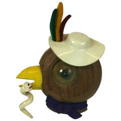Charming Art Deco Cartoon Bird Brooch