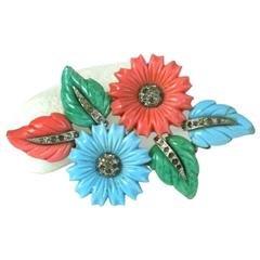 Mazer Pastel Fruit Salads Pave Bouquet Brooch