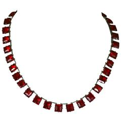 Art Deco Ruby Square Cut Crystal Riviere