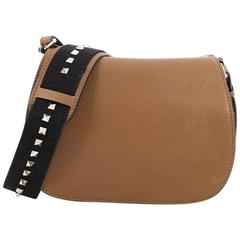 Valentino Band Rockstud Round Messenger Bag Grained Leather