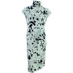 Rare Bonnie Cashin for Sills Black + White Paint Spatter Knit Dress Mod Sz M