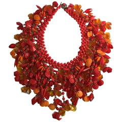 1960s Electric Orange West German Acetate and Resin Statement Necklace
