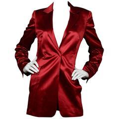 Akris Red Satin Blazer Jacket sz US8