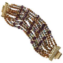 William deLillo 1970s Dazzling 10-strand Multicolor Crystal Rondelle Bracelet