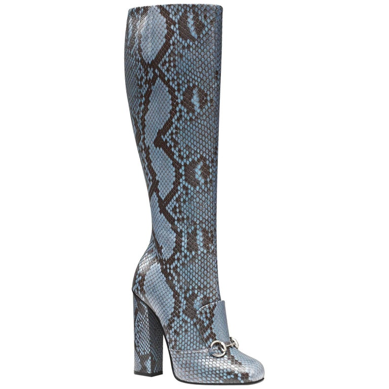 New GUCCI Campaign $3500 PYTHON Horsebit Knee High Boot Aquamarine It 37  US 7.5