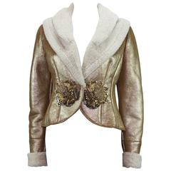 New VALENTINO Metallic Gold Shearling Lambskin Leather Embellished Jacket size 6