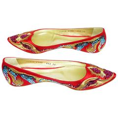 New CASADEI Ballet Flats SWAROVSKI Limited Edition Embroidered Red It 36 - US 6