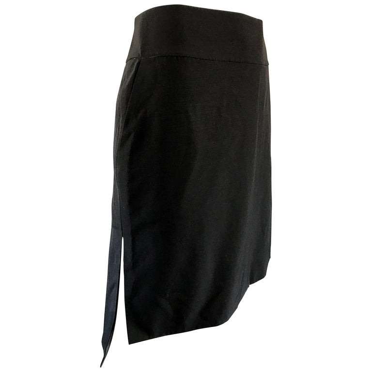 Vintage Yves Saint Laurent Rive Gauche YSL Black Hi - Lo Asymmetrical 90s Skirt For Sale