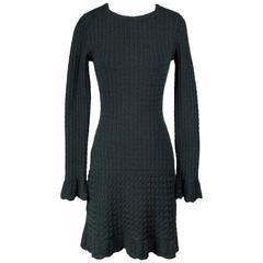 Alaia Dark Green Rib Knit Dress circa 1990s