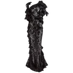 Junya Watanabe Comme des Garçons Sheer Ruffled Lace Gown