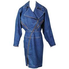 Alaia Denim Coat Dress with Full Length Zipper circa 1980s